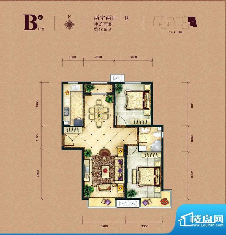 东亚马赛公馆B6户型 2室2厅1卫面积:106.00平米