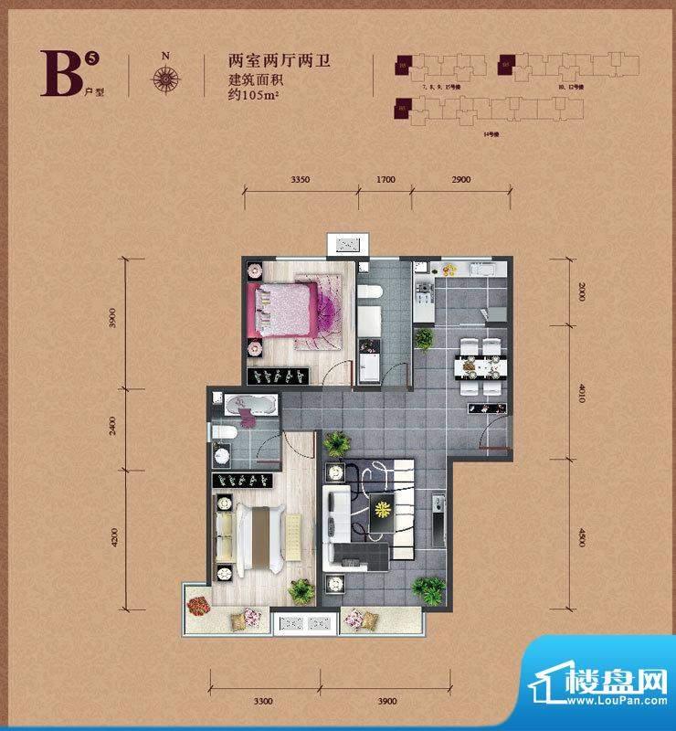 东亚马赛公馆B5户型 2室2厅2卫面积:105.00平米