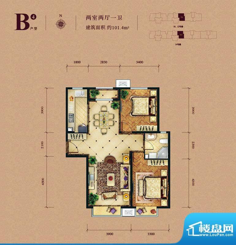 东亚马赛公馆B4户型 2室2厅1卫面积:101.40平米
