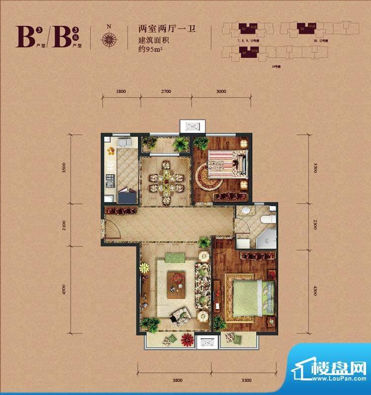 东亚马赛公馆B3户型 2室2厅1卫面积:95.00平米
