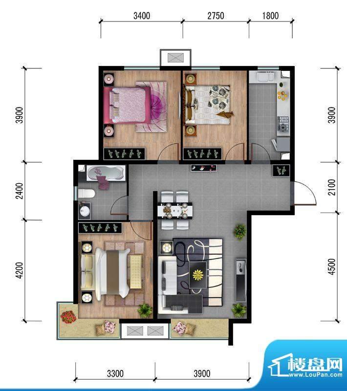 东亚马赛公馆户型图-A3 3室2厅面积:106.00平米