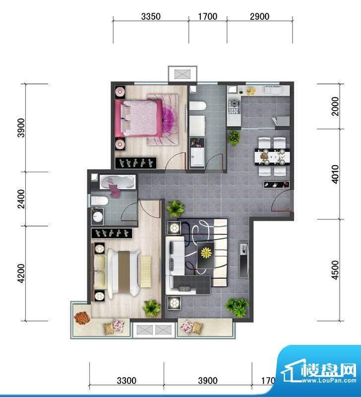 东亚马赛公馆B5户型 2室2厅2卫面积:104.70平米