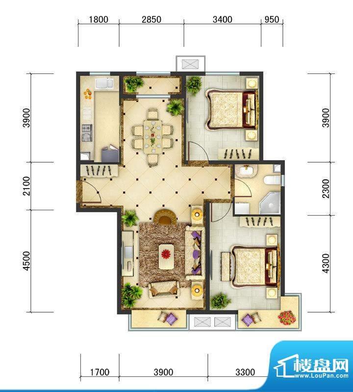 东亚马赛公馆B6户型 2室2厅1卫面积:101.50平米