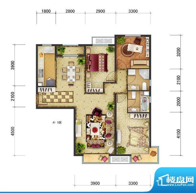 东亚马赛公馆A1户型 3室2厅2卫面积:123.20平米