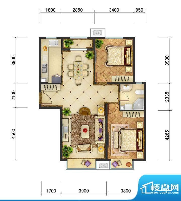 东亚马赛公馆B4户型 2室2厅1卫面积:101.50平米