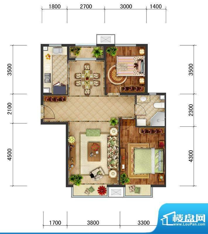 东亚马赛公馆B3户型 2室2厅1卫面积:94.70平米