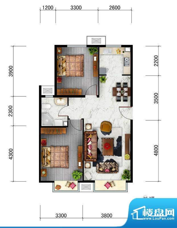 东亚马赛公馆B2户型 2室2厅1卫面积:88.20平米