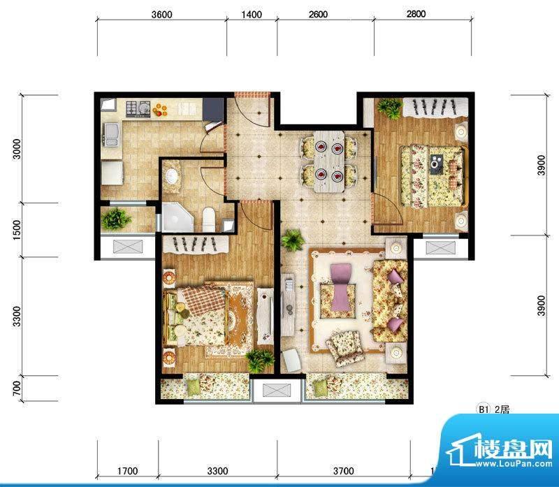 东亚马赛公馆B1户型 2室2厅1卫面积:81.90平米