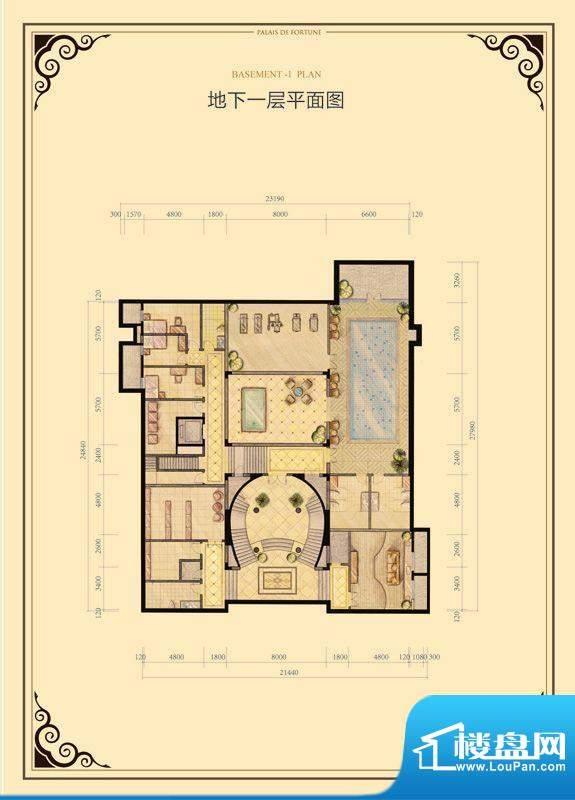 财富公馆·御河城堡b1-17地下一面积:621.00平米
