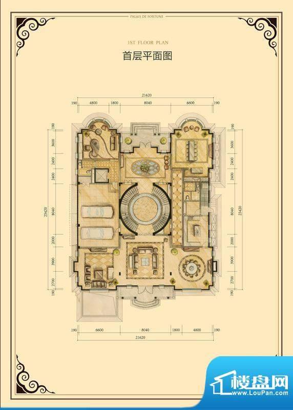 财富公馆·御河城堡h1首层平面面积:567.00平米