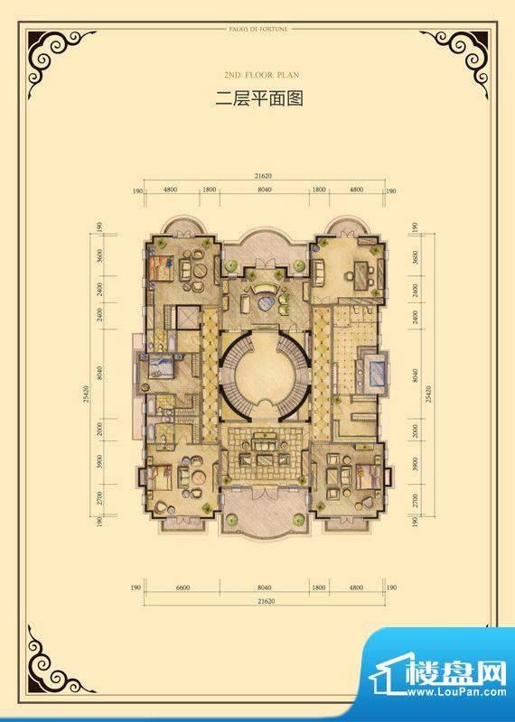 财富公馆·御河城堡h2二层平面面积:567.00平米