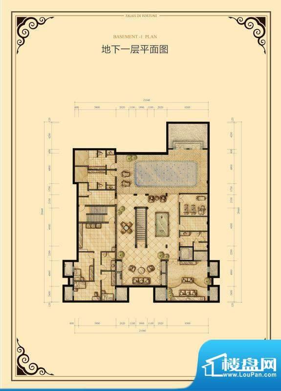 财富公馆·御河城堡b1-11地下一面积:621.00平米