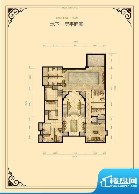 财富公馆·御河城堡b1-14地下一面积:621.00平米