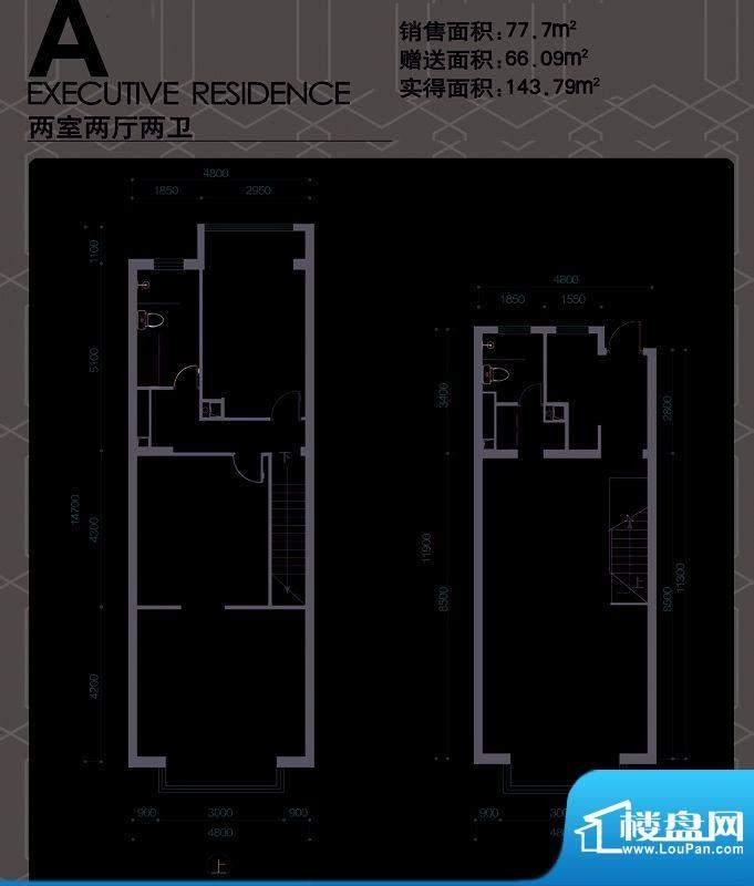 大道尚庭公寓A户型图 2室2厅2卫面积:77.70平米