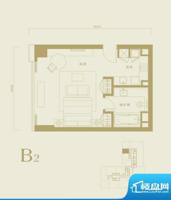 长安太和B2户型 1室1卫1厨面积:90.00平米