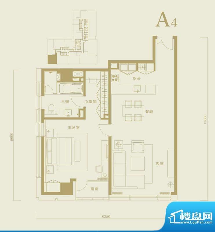 长安太和A4户型 1室2厅1卫1厨面积:120.00平米