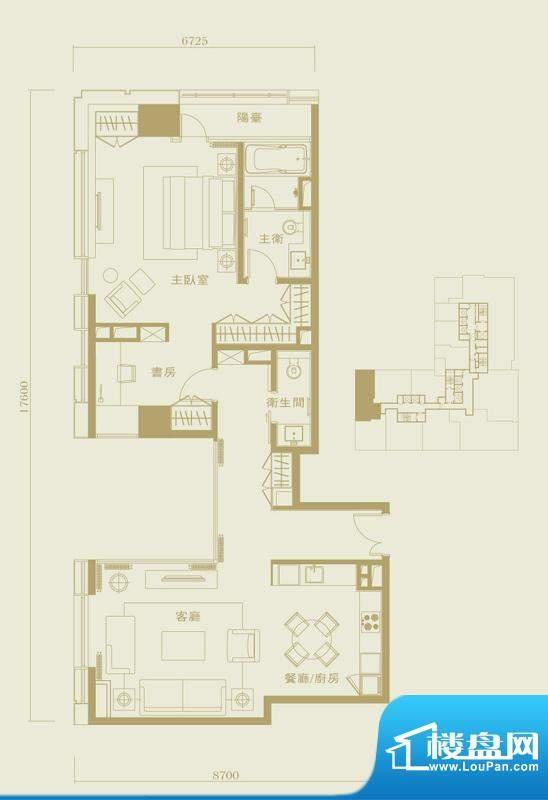 长安太和A3户型 1室2厅1卫1厨面积:130.00平米
