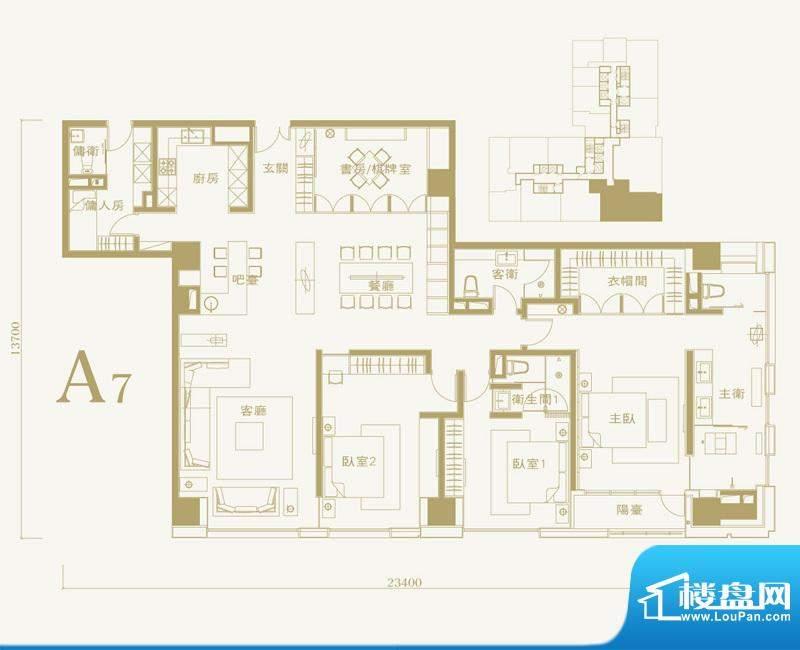 长安太和A7户型 5室2厅4卫1厨面积:300.00平米