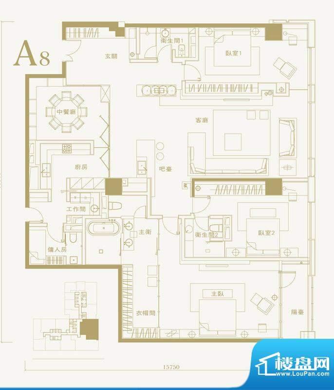 长安太和A8户型 3室2厅3卫1厨面积:300.00平米