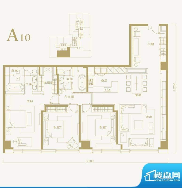 长安太和A10户型 3室2厅2卫1厨