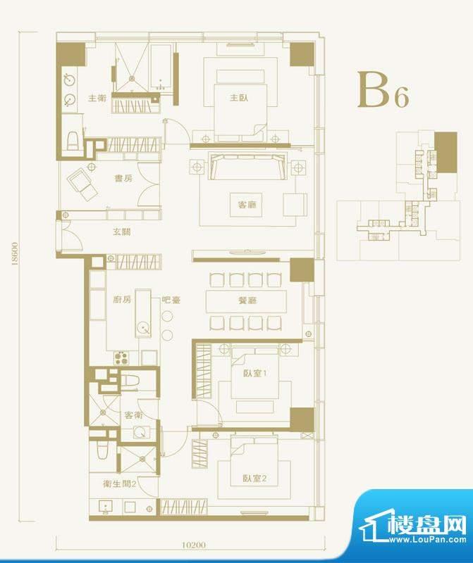 长安太和B6户型 4室2厅3卫1厨