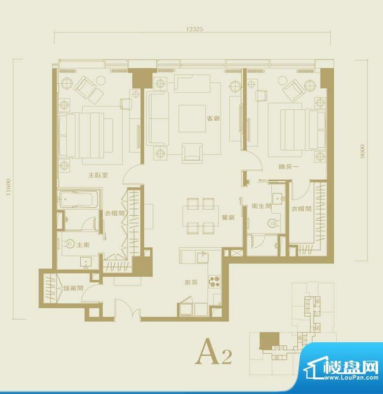 长安太和A2户型 2室2厅2卫1厨