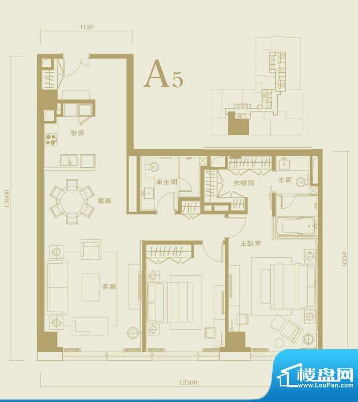 长安太和A5户型 2室2厅2卫1厨