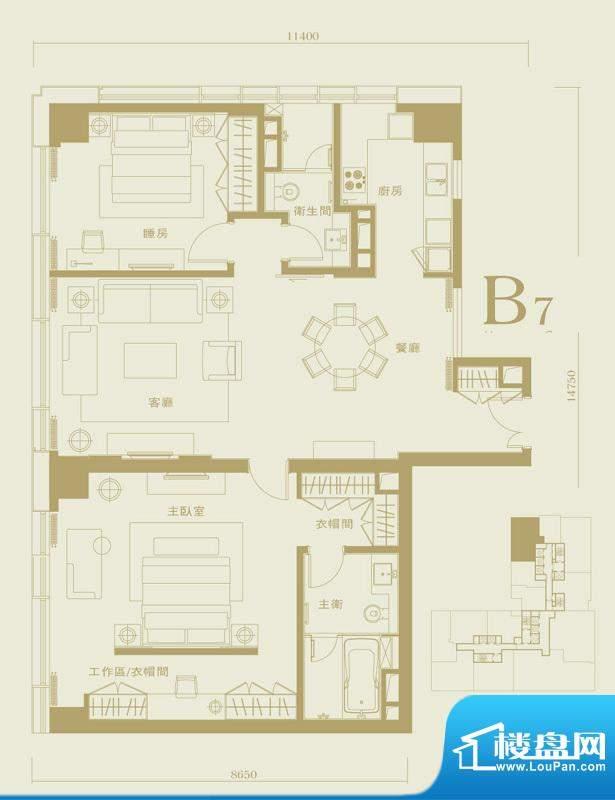 长安太和B7户型 2室2厅2卫1厨
