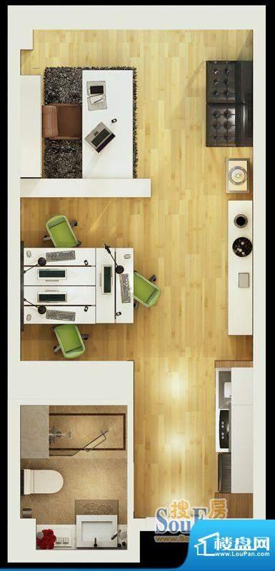 财智国际中心大开间户型图 1室面积:82.00平米