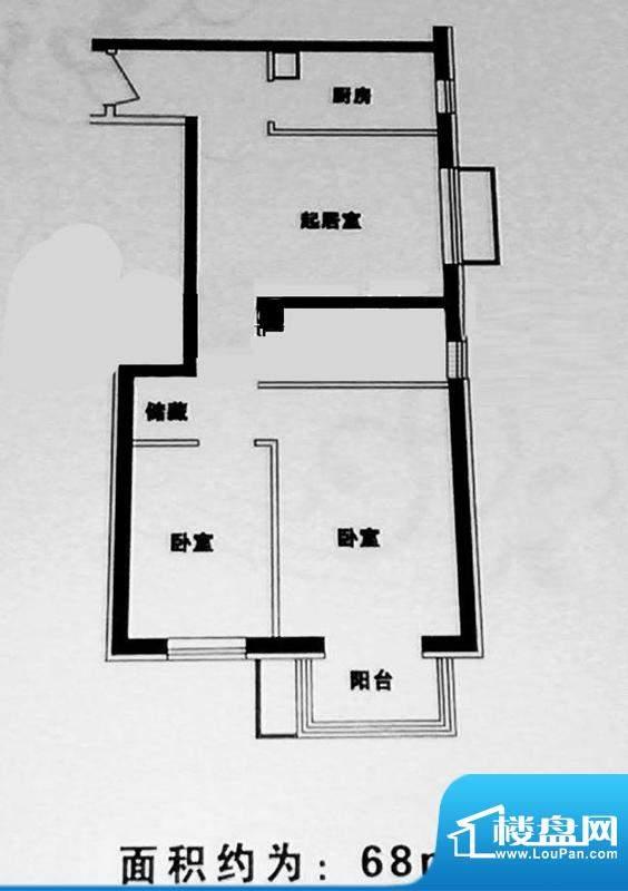 首开畅心园ID2户型 2室1厅1卫1面积:68.00平米