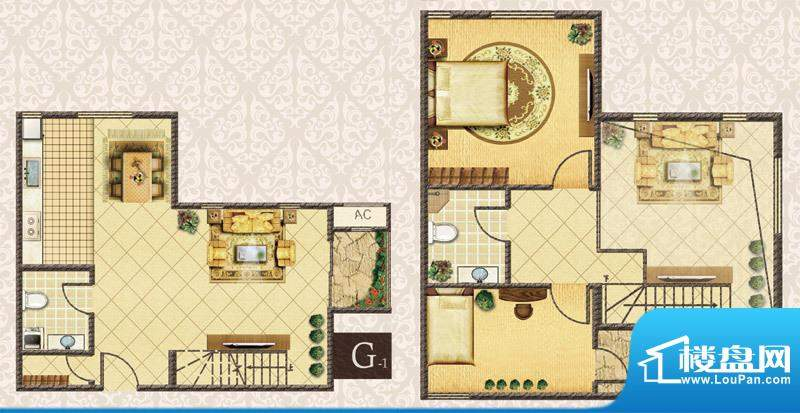 M5·朗峰G户型 2室2厅2卫1厨面积:68.70平米