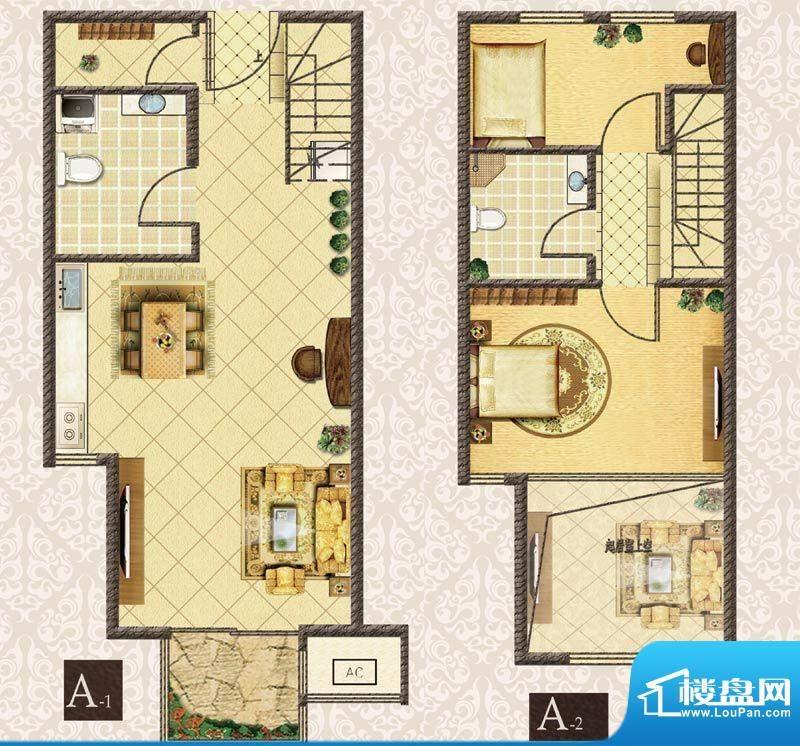 M5·朗峰A户型 2室2厅2卫1厨面积:56.00平米