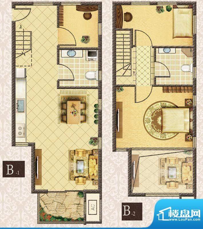 M5·朗峰B户型 3室2厅2卫1厨面积:65.00平米