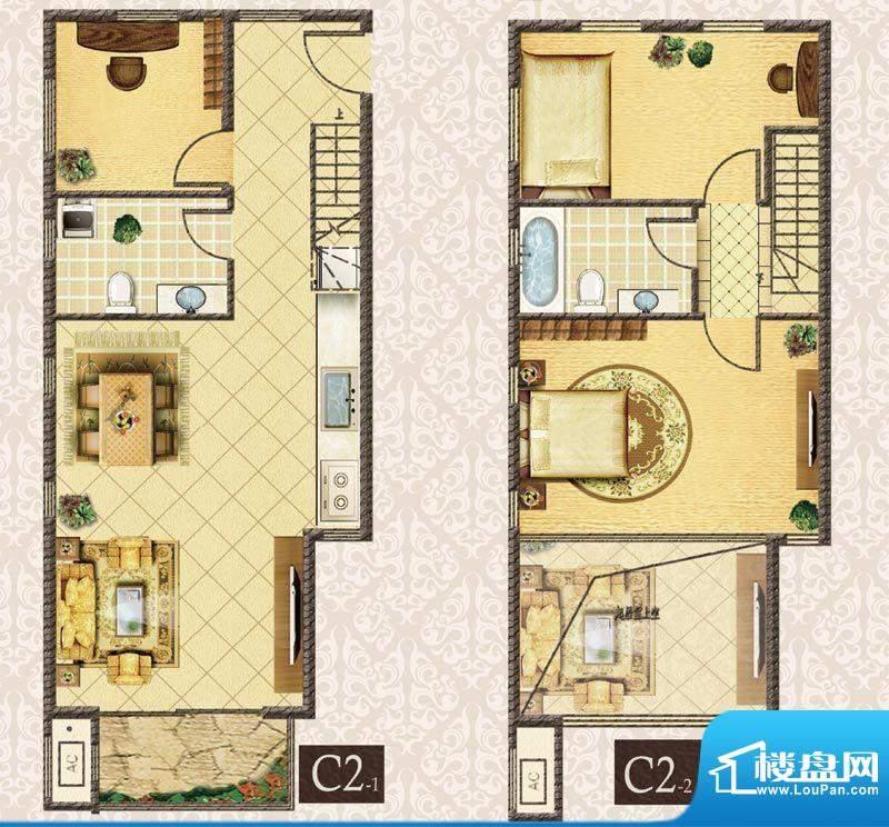M5·朗峰C户型 3室2厅2卫1厨面积:81.00平米