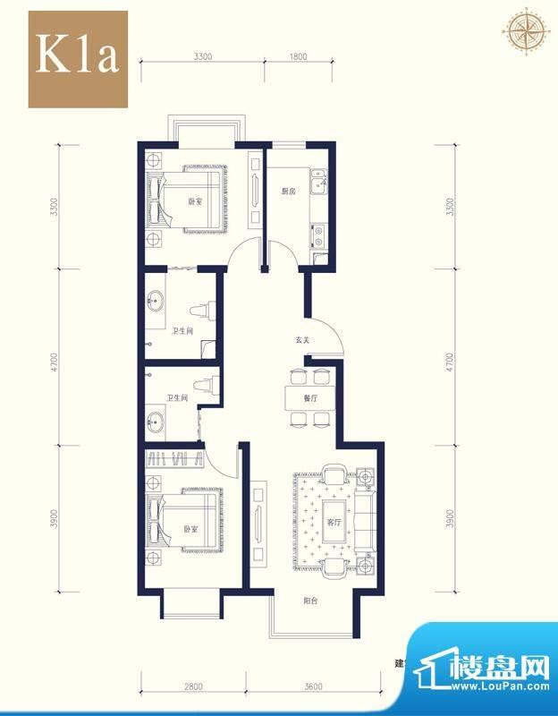 夏威夷南岸二期K1a户型2室1厅2面积:87.47平米