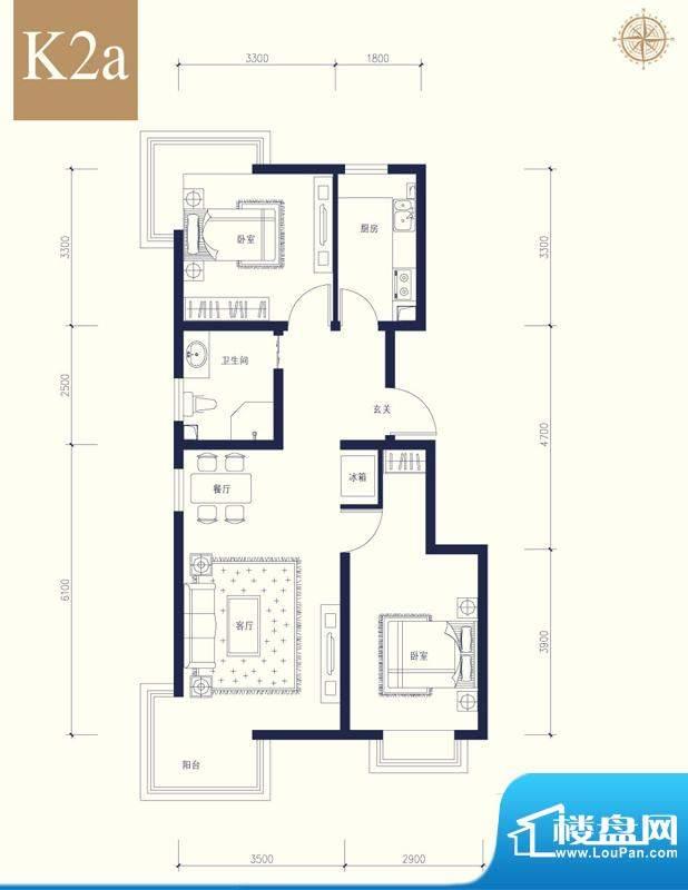夏威夷南岸二期K2a户型2室1厅1面积:88.58平米
