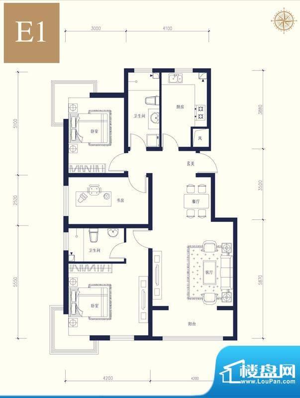 夏威夷南岸二期E1户型3室1厅1卫面积:122.64平米