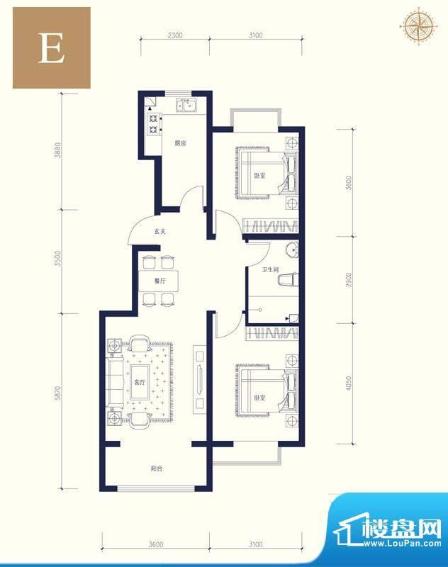 夏威夷南岸二期E户型2室1厅1卫面积:88.57平米