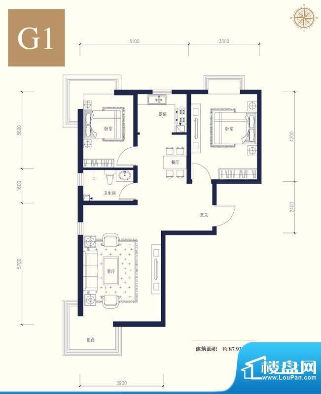 夏威夷南岸二期G1户型2室1厅1卫面积:87.93平米