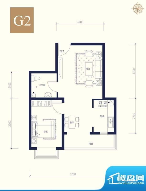 夏威夷南岸二期G2户型1室1厅1卫面积:57.38平米