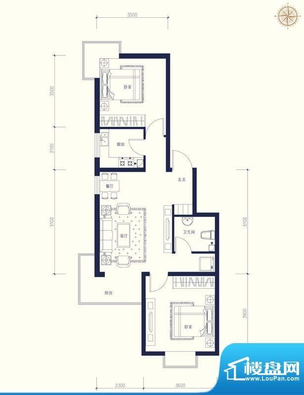 夏威夷南岸二期A1户型2室1厅1卫面积:88.82平米
