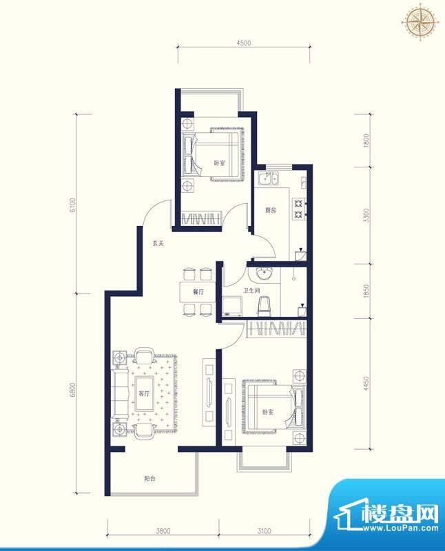 夏威夷南岸二期A户型2室1厅1卫面积:89.95平米