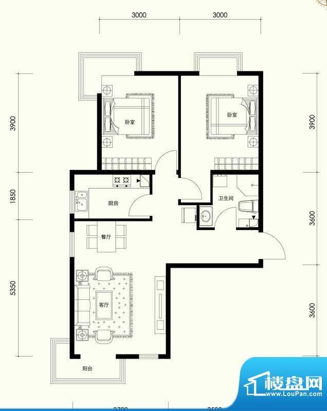夏威夷南岸二期B1户型两室一厅面积:86.98平米