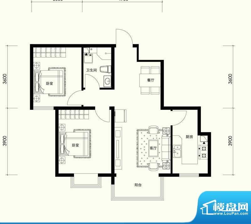夏威夷南岸二期B2户型两室一厅面积:88.59平米