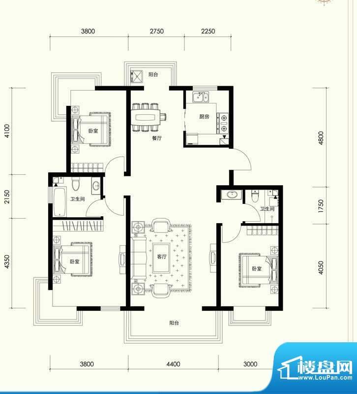 夏威夷南岸二期C1户型三室一厅面积:136.21平米