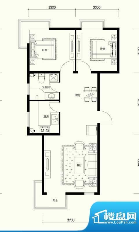 夏威夷南岸二期D1户型两室一厅面积:89.29平米