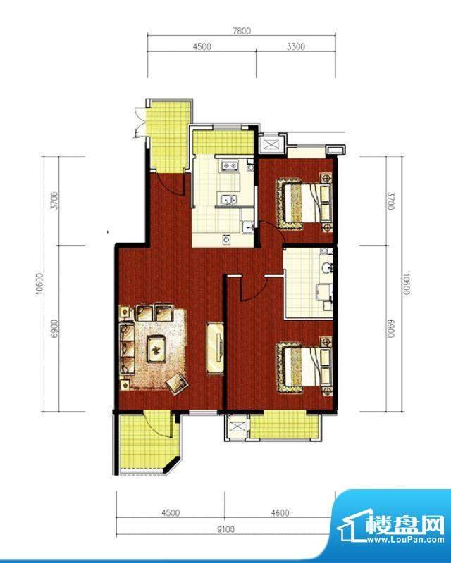 绿堤香廊经典2居户型图 2室1厅