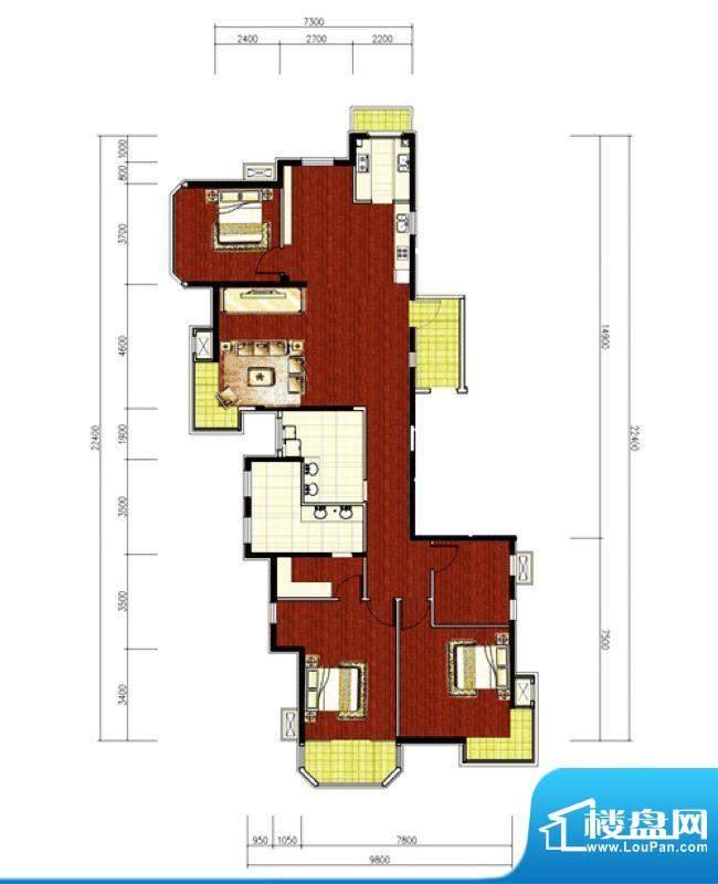 绿堤香廊经典3居户型图 3室1厅