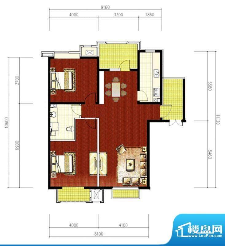 绿堤香廊经典2室2厅户型图 2室