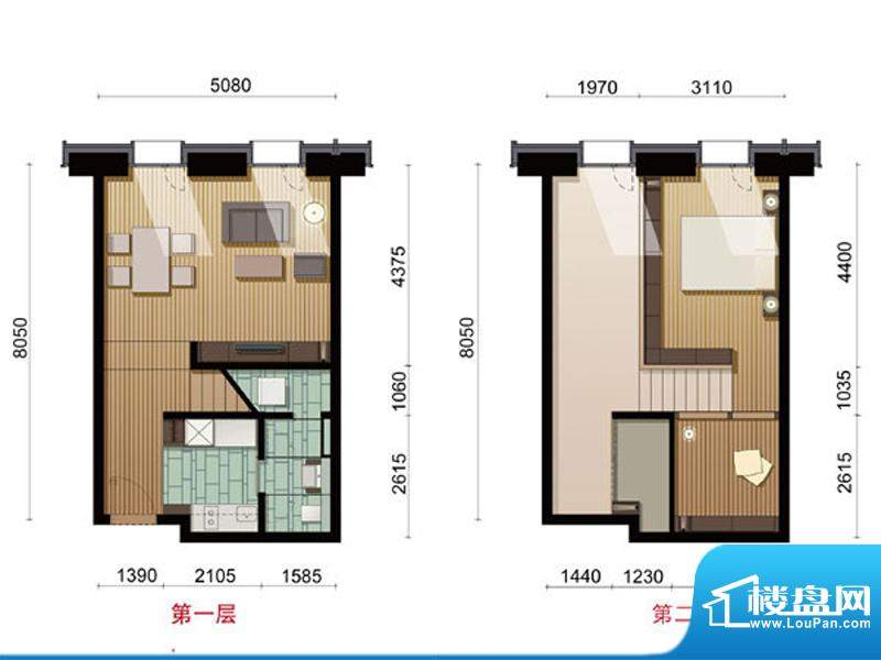 COCO MOMAA户型 2室1厅1卫1厨面积:75.73平米